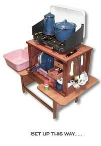 Grubby One camp kitchen. We built one of these, taking it on its first outing in January. Can't wait!