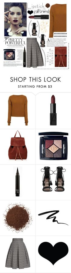 """fall beauty: red lipstick. <3"" by tatjana ❤ liked on Polyvore featuring TIBI, NARS Cosmetics, Mansur Gavriel, Christian Dior, Zimmermann, Eyeko and Rumour London"