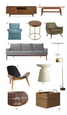 Resources: 1 Media console | 2 Coffee table | 3 Blue glider chair | 4 West Elm Wood  brass side table | 5 Dwell Studio Leather chair | 6 DW...