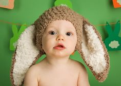 Crochet full eared flopsy bunny beanie hat, in fluffy brown and cream. Handmade with love by Babamoon - size 6 to 12m - can be made in other colours and sizes!