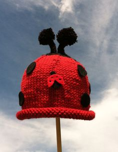 Items similar to Newborn Baby Girl Hand Knit Ladybug Photo Prop and or  Halloween Red and Black with Pompom Attenas Hat - Ready to Ship on Etsy bf2f27000705