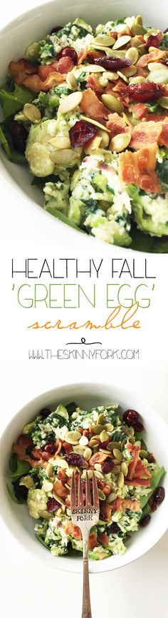 Healthy Fall 'Green Egg' Scramble - A fun fall breakfast that's filling and full of fall flavors! TheSkinnyFork.com