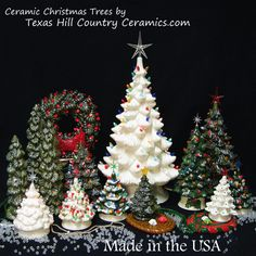 Picture of small, medium & large ceramic tabletop vintage Christmas Trees with electric blinking, steady burning or battery tea lights and d...