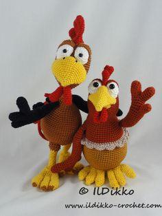 Poultry Paul, Paula (Paulette) - Amigurumi Crochet Pattern Set by IlDikko on Etsy