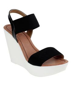 Another great find on #zulily! Black Open-Toe Opera Wedge #zulilyfinds