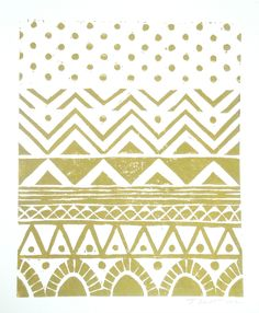 Hand-pulled Linocut - Gold Geometric Tribal Block Print