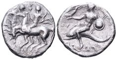 AR Nomos. Greek, Calabria, Tarentum, Sodamos, magistrate. Circa 280-272 BC. 20mm, 6,31g. HN Italy 1011. Fine. Price realized (2.7.2016): 85 GBP.