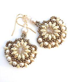 Beaded Pearl Earrings, Crystal Beadwork Earrings, Seed Bead Earrings, Boho Earrings, Beaded Fan Earrings
