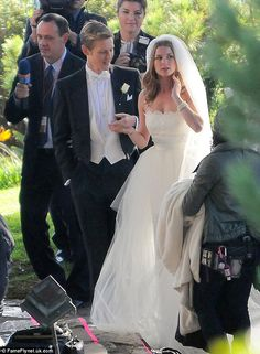 Here comes the scorned bride: Emily VanCamp and Gabriel Mann were dressed to the nines as they shot the highly-anticipated wedding scene for...
