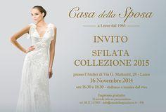 Comunicato Stampa: 16 Novembre Casa della Sposa Lecce: in passerella la nuova collezione
