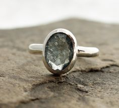 moss aquamarine ring set in fine and sterling silver by TheSpiralRiver #faceted #etsy #size8.25 #createdonthecoast #sunshinecoastbc