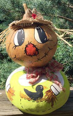 "ScardyCrow ""Dusty"" Gourd Halloween 12x8 Halloween Decor Signed    eBay"