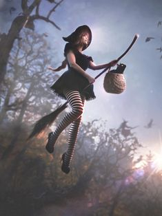 A witch needs a black cat They have been wieved upon as part sorcery and part demon but in Japan black cats are considered g. Witch flying on broomstick Fantasy Witch, Witch Art, Witches Broomstick, Which Witch, Flying Witch, Pose Reference, Online Art Gallery, Wicca, Sketches