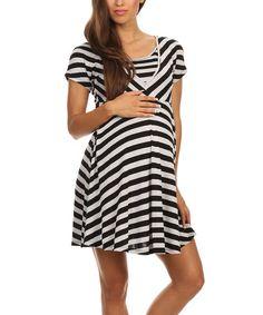 Loving this Black & White Stripe Maternity & Nursing Dress on #zulily! #zulilyfinds