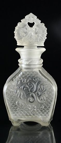 1930's Deco frosted glass scent perfume bottle with Russian wording and Imperial stopper