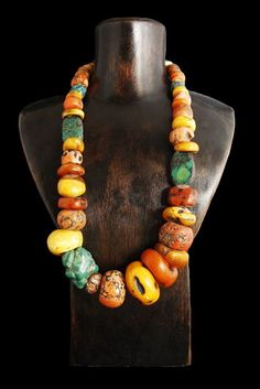 Antique Turquoise, Coral and Amber Necklace ~ Tibet