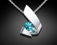 turquoise blue topaz pendant - Argentium silver - blue topaz necklace - December birthstone - contemporary jewelry - 3440