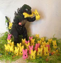 "Graceful Grandma: Godzilla says ""Happy Easter""."