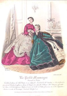 Fashion plate, 1865 France, Le Petit Messager Oh my God Civil War Fashion, 1800s Fashion, Edwardian Fashion, Retro Fashion, Vintage Fashion, Fashion Goth, French Fashion, Ladies Fashion, Vintage Gowns