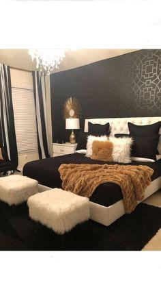 Black White & Gold Bedroom - Home - Bedroom Decor Room, Home Decor Bedroom, Bedroom Ideas, Bedroom Designs, Diy Bedroom, Modern Bedroom, Bedroom Themes, Black Bedroom Decor, Dream Bedroom