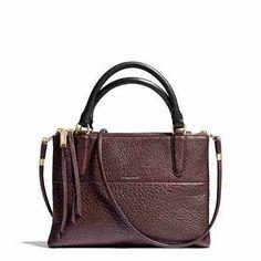Coach mini Borough bag in Oxblood pebbled leather.