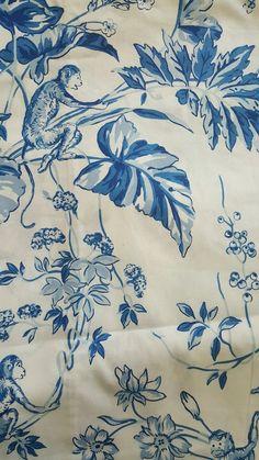 2 yards Scalamandre fabric- OUITITIS- PRINTED CHINTZ- COLOR MAJOLICA BLUE    eBay British Colonial Bedroom, Drapery Fabric, Soft Furnishings, Upholstery, Georgian, Yards, Prints, Fabrics, Painting