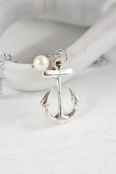 Anchor Necklace  Bridesmaids Necklaces Bridesmaid Gift by KimFong, $19.00