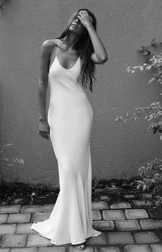 This dress too would be a good basic dress to embellish. The length might be a b… This dress too would be a good basic dress to embellish. The length might be a bit long. Mode Ootd, Mode Editorials, Trendy Wedding, Wedding Simple, Perfect Wedding, Sophisticated Wedding Dresses, Simple Weddings, Dream Dress, The Dress