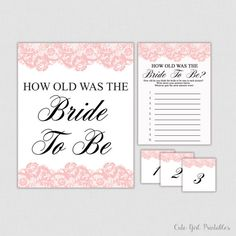 Pink Lace Bridal Shower - Bridal Shower Game - Bridal Shower Games - How Old Was Bride - Wedding Shower - Bride - Bride To Be - 0006P