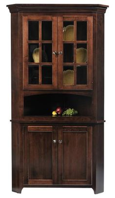 "The Lexington Shaker Corner Hutch is a 2 door unit and measures 34""w x 30""d x 79""h. This unit comes standard with 6 light mullion glass display doors, beveled g"