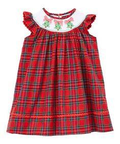 Loving this Red & Green Plaid Smocked Bishop Dress - Infant, Toddler & Girls on #zulily! #zulilyfinds