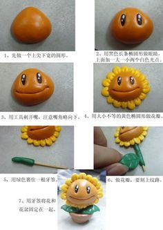 Sun flower from plants vs zombies! Polymer Clay Kunst, Polymer Clay Miniatures, Fimo Clay, Polymer Clay Projects, Polymer Clay Charms, Polymer Clay Creations, Clay Crafts, Zombie Birthday Parties, Zombie Party