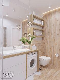 Modern Small Bathrooms, Beautiful Bathrooms, Modern Bathroom, Bathroom Design Luxury, Bathroom Design Small, Home Interior Design, Laundry Room Design, Laundry In Bathroom, Small Laundry
