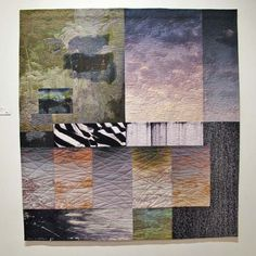 """Michael James        Quilt:  """"Land's End: Quiet Hour,""""  2014.  Cotton and dyes, machine-sewn 50.5"""" x 53.75""""       Exhibited at Snyderman Gallery 9th International Fiber Biennial."""