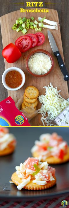 Bruschetta is such a classic appetizer. Our easy recipe for these tasty Bruschetta Bites substitutes bread with RITZ crackers. Just mix plum tomatoes, shredded mozzarella, green onions, and Italian dressing. Place on RITZ original crackers and top with parmesan cheese. Bake until cheese melts or serve cool, however you want!