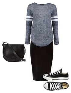 """Causal night out"" by modestyiskey ❤ liked on Polyvore featuring River Island, Boohoo, Converse and Loeffler Randall"