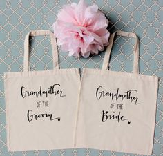 Grandmother of the Bride & Grandmother of the Groom Gift tote bags