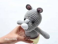 This Cuddle Me Rhino amigurumi dressed in sunny pants is the ideal friend for your little one! Crochet him today with our Cuddle Me Rhino Amigurumi Pattern! Amigurumi Toys, Crochet Patterns Amigurumi, Crochet Toys, Cute Crochet, Crochet Baby, Knitting Projects, Crochet Projects, Stuffed Animal Patterns, Crochet Animals