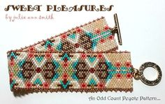 You are purchasing an odd count peyote digital pattern....NOT THE ITEM IN THE PHOTO!!  SWEET PLEASURES is just that...SWEET! I so enjoy stitching with beads and this design just makes me smile! Bits of true color ring through and the PLEASURE is all mine, to be able to create a thing of beauty! ENJOY!  I always use 4lb Fire Line fishing line to stitch; a long, size 12 beading needle; size 11/0 Delica beads; size 15/0 seed beads for the trim and I chose to use a toggle bar and ring f...
