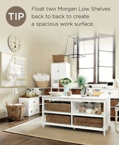 Float two shelves together for more folding space in your laundry room!
