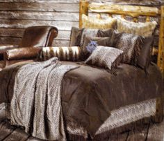 Show off your wild side in your Western Decor.The overstuffed,polyester filled comforter has the look of leather but super soft to the touch. The Western Bedding Set includes a comforter,two leopard print pillow shams a leopard print dust ruffle and a fringed leopard print throw pillow!!