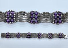 GUSTAV BRAENDLE, THEODOR FAHRNER Art Deco Bracelet  Silver Amethyst Marcasite H: 1.7 cm (0.67 in)  W: 17 cm (6.69 in)  Marks: TF & 925 German, c.1930
