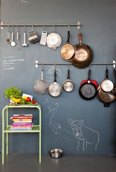 Chalkboard wall & hanging pot storage for wall next to galley kitchen! Description from pinterest.com. I searched for this on bing.com/images