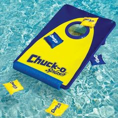 Corn Hole game for the pool !!!  If we tied it to the boat, we could play In the lake. My parents would love this!