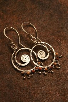 Jasper Swirl Hoop Earrings wrapped in Sterling by GypsyLotusCo, $46.00