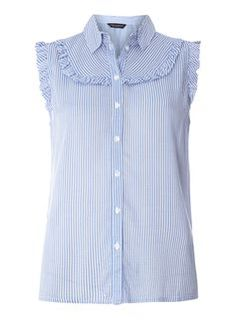 blue Frill Sleeveless Shirt