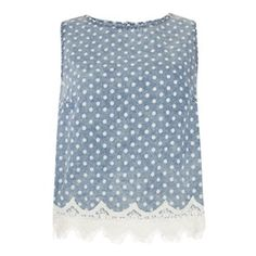 Primark - What's New Primark Outfit, Primark Clothes, Denim Shirt, Polka Dot Top, Lace Trim, Vest, Stylish, Tops, Fabric