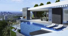 modern house with amazing blue waterfall