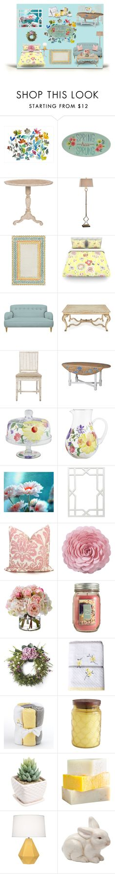 """""""Spring"""" by donna-france-davis ❤ liked on Polyvore featuring interior, interiors, interior design, home, home decor, interior decorating, Dot & Bo, Aidan Gray, Uttermost and John-Richard"""
