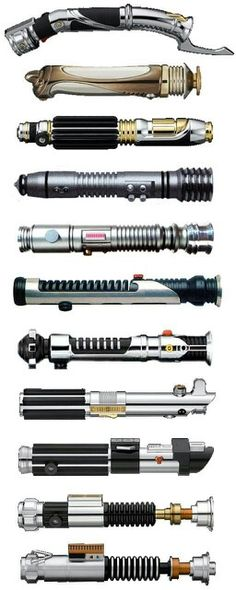 Star Wars lightsabers - (from the top) Count Dooku, Darth Sidious, Mace Windu… Star Trek, Nave Star Wars, Star Wars Film, Star Wars Rebels, Star Wars Art, Star Wars Quiz, Starwars, Kit Fisto, Tableau Star Wars
